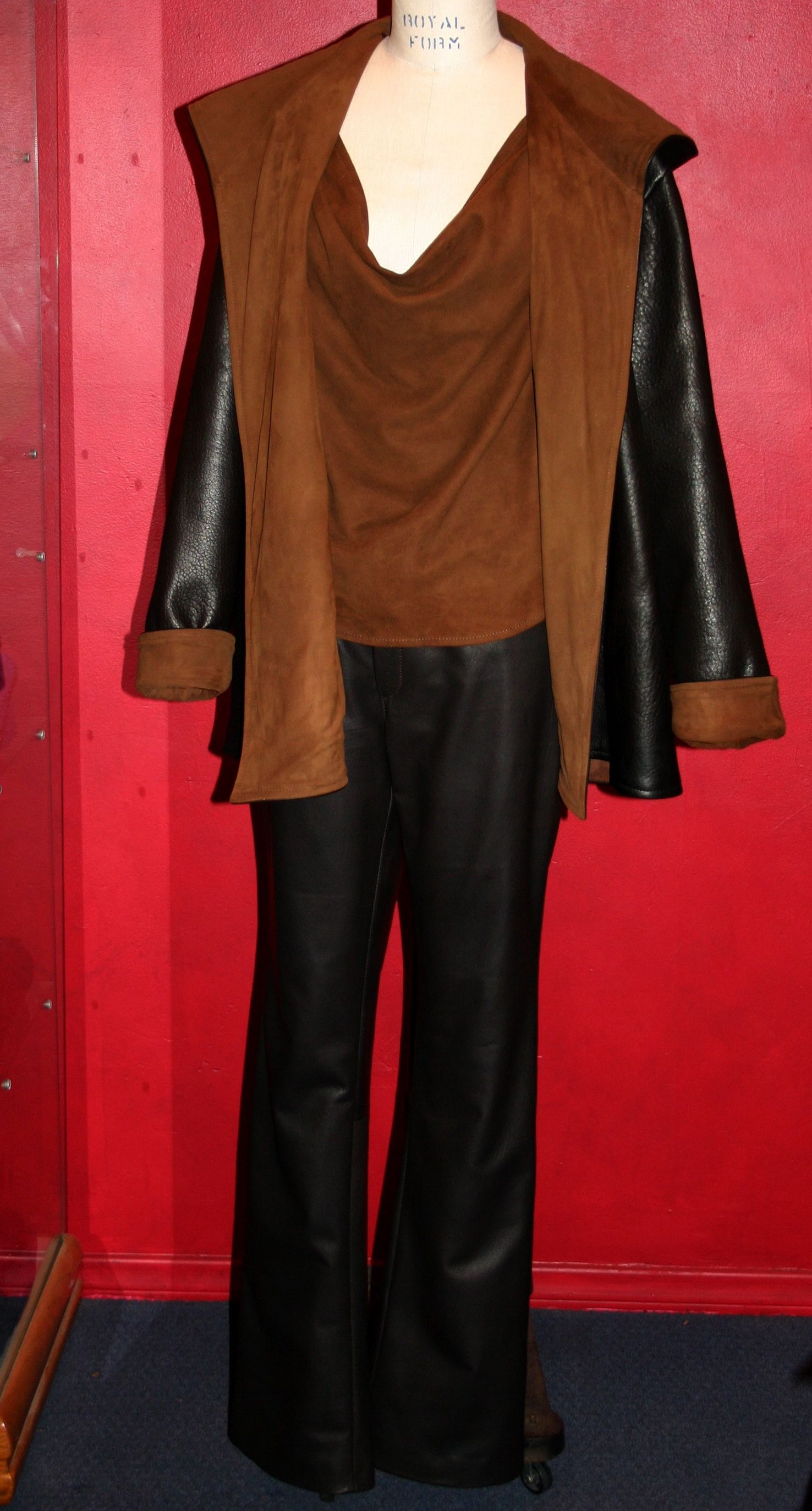 leather coat, pants and suede tank