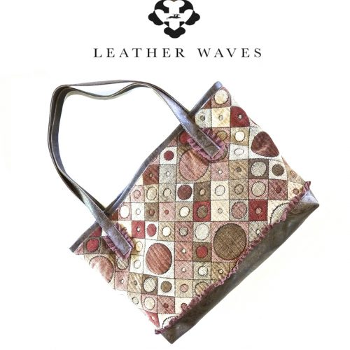 (#50) Faux Leather and Tapestry Shopping Bag