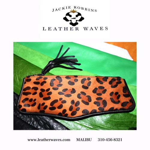 (#82) Leopard Print Fur-On Cowhide Pencil Case